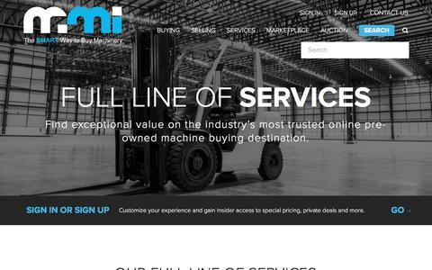 Screenshot of Services Page FAQ Page mmi-direct.com - Machine Tool Storage   Sell Machine Tools   MMI-Direct.com - captured Sept. 28, 2017