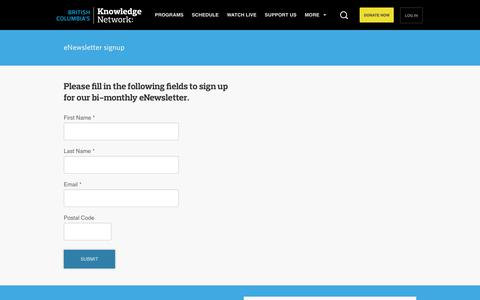 Screenshot of Signup Page knowledge.ca - eNewsletter signup | Knowledge.ca - captured Feb. 12, 2016