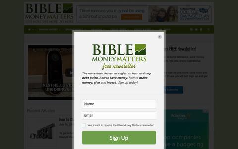 Screenshot of Home Page biblemoneymatters.com - Bible Money Matters | Christian personal finance - captured Aug. 2, 2018