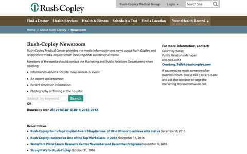 Screenshot of Press Page rushcopley.com - Newsroom - Rush-Copley Medical Center - captured Dec. 17, 2016