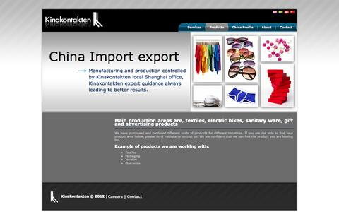 Screenshot of Products Page kinakontakten.com - Main production areas are, textiles, electric bikes, sanitary ware, gift and advertising products - captured Oct. 6, 2014