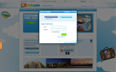 Screenshot of Login Page tralopia.com - Hotel Deals and Hotel Prices on Tralopia.com - captured Nov. 5, 2014