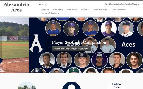Screenshot of Home Page alexandriaaces.org - Alexandria Aces – Cal Ripken Collegiate Baseball League - captured Oct. 7, 2017
