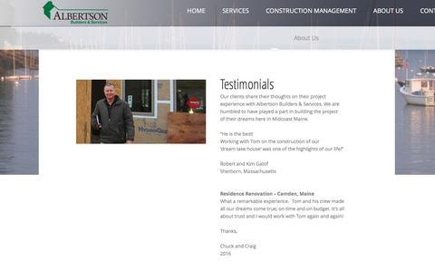 Screenshot of Testimonials Page albertsonbuilders.com - Testimonials - captured Nov. 20, 2016