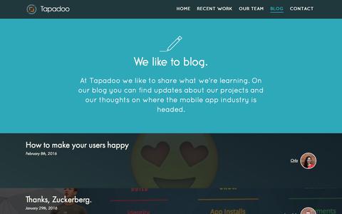 Screenshot of Blog tapadoo.com - Blog | Tapadoo - captured Feb. 13, 2016