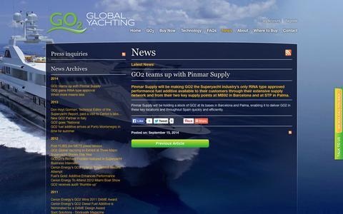Screenshot of Press Page go2globalyachting.com - News   GO2 Yacht Superyacht & Marine Fuel Additive  GO2 Global Yachting   Diesel Fuel Additive - captured Oct. 28, 2014