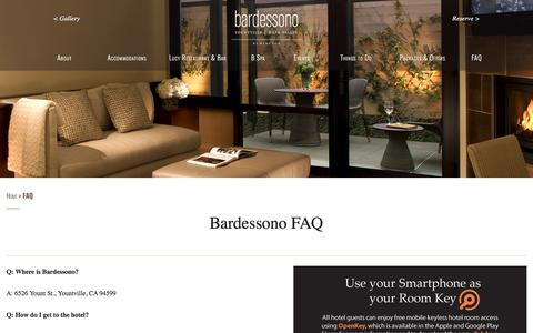 Screenshot of FAQ Page bardessono.com - FAQ - Frequently Asked Questions | Bardessono Luxury Yountville Hotel - captured April 14, 2018