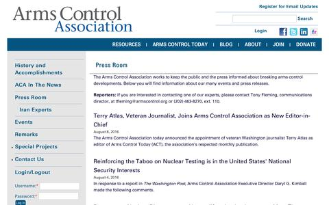 Screenshot of Press Page armscontrol.org - Press Room | Arms Control Association - captured Aug. 27, 2016