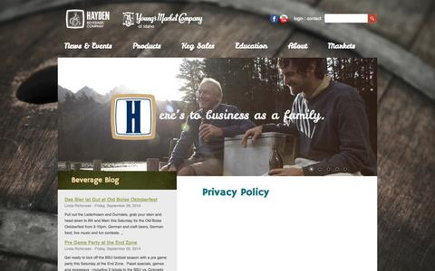 Screenshot of Privacy Page haydenbeverage.com - Privacy Policy - captured Sept. 29, 2014