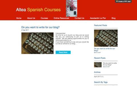 Screenshot of Blog alteaspanishcourses.com - alteaspanishcourses | Blog - captured May 29, 2017