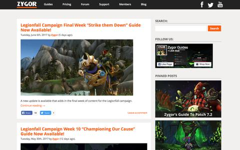 """Screenshot of Blog zygorguides.com - Zygor Guides - Legionfall Campaign Final Week """"Strike them Down"""" Guide Now Available! - captured June 12, 2017"""