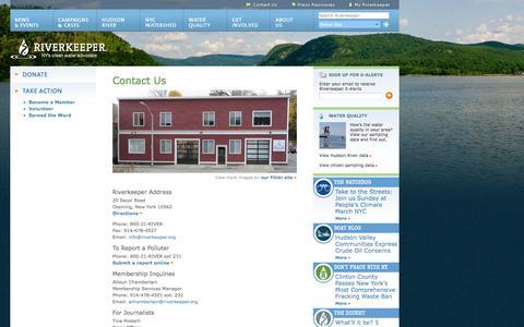 Screenshot of Contact Page riverkeeper.org - Contact Us   Riverkeeper - captured Sept. 19, 2014
