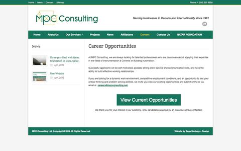 Screenshot of Jobs Page mpcconsulting.net - MPC Consulting Ltd. – Career Opportunities - captured Oct. 4, 2014