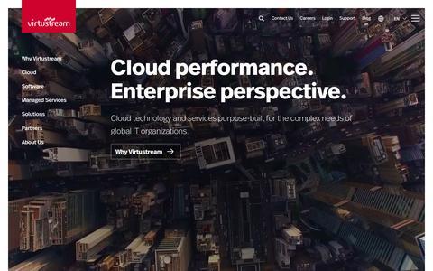 Screenshot of Home Page virtustream.com - Private, Public, and Hybrid Cloud Technology | Virtustream - captured Nov. 4, 2017