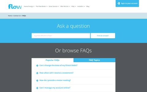 Screenshot of FAQ Page flowenergy.uk.com - Frequently Asked Questions - Flow Energy - captured Jan. 8, 2016