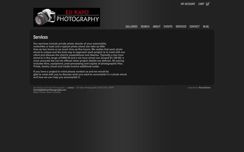 Screenshot of Services Page photoshelter.com - Photographic Services | Ed Kato Photography - captured Sept. 17, 2014