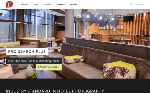 Screenshot of Home Page Services Page Support Page prosearchplus.com - Hotel Virtual Tours - Hotel Photography - Hotel Website Design - Hotel Video - Hotel Printing - Pro Search Plus - captured Nov. 5, 2018