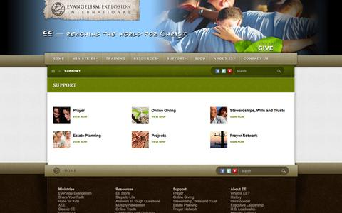 Screenshot of Support Page evangelismexplosion.org - Support | Evangelism Explosion - captured Sept. 29, 2014