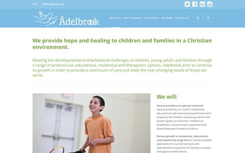 Screenshot of About Page adelbrook.org - Our Goals - Welcome to Ädelbrook - captured Oct. 3, 2018