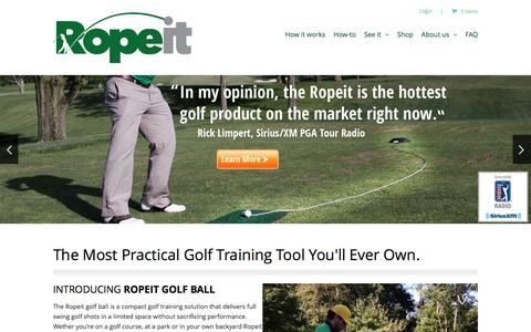 Screenshot of Home Page theropeit.com - Ropeit Golf Ball | The Take-it-with-you Driving Range - captured Dec. 8, 2015