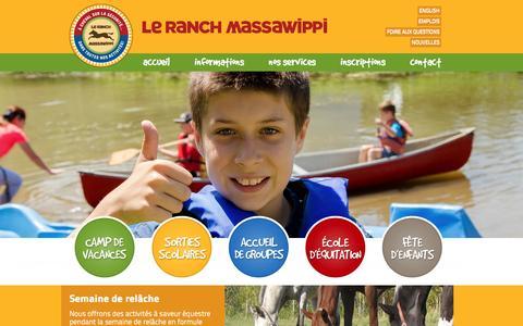 Screenshot of Home Page moncamp.com - Camp de Vacances, camp équestre - Ranch Massawippi - captured Feb. 26, 2016