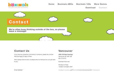 Screenshot of Contact Page boximals.com - Contact — Boximals - captured Oct. 5, 2014