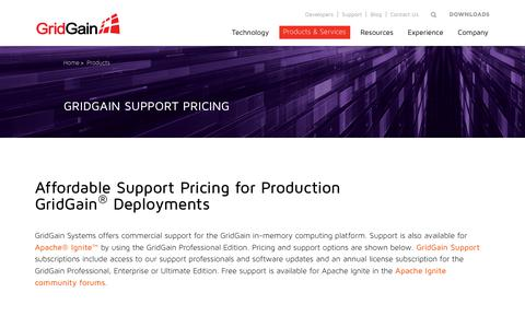 Screenshot of Pricing Page gridgain.com - Support Pricing for Production Use Cases - GridGain Systems - captured Nov. 9, 2018