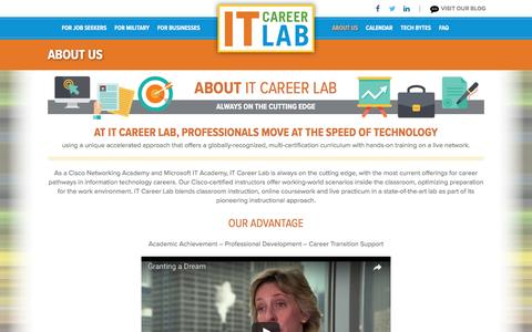 Screenshot of About Page itcareerlab.org - About IT Career Lab | Cisco Networking Academy and Microsoft IT Academy - captured May 28, 2017