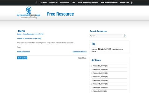 Screenshot of Menu Page developmentguruji.com - Web Design, Website & Mobile App Development Free Resources Download - captured Oct. 23, 2014