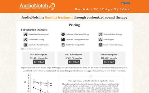 Screenshot of Pricing Page audionotch.com - Tinnitus Treatment Sound Therapy  - Pricing | AudioNotch - captured Oct. 31, 2014