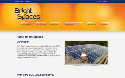 Screenshot of About Page brightspacessolar.com - About Bright Spaces | Georgia Utility Solar Developers - captured Oct. 5, 2014