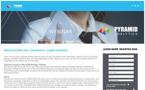 Screenshot of Landing Page pyramidanalytics.com captured July 10, 2016