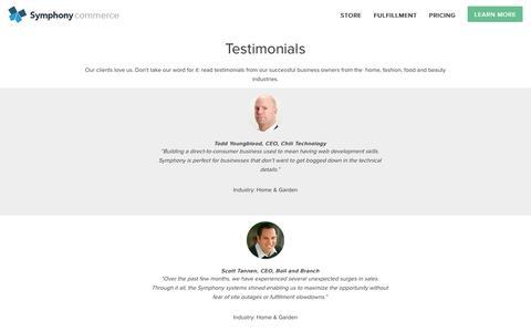 Screenshot of Testimonials Page symphonycommerce.com - Testimonials   Symphony Commerce - captured Dec. 4, 2015