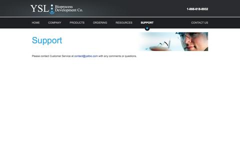Screenshot of Support Page yslbio.com - Support |  YSL Bioprocess Development Co. - captured Oct. 4, 2014