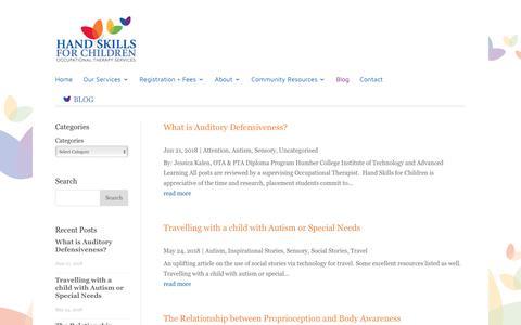 Screenshot of Blog handskillsforchildren.com - Hand Skills for Children Occupational Therapy Services Toronto - captured Nov. 4, 2018
