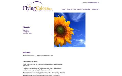Screenshot of About Page flyingcolors.ca - About Us | Flying Colors Conflict Management - captured Oct. 6, 2014