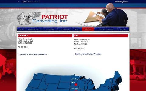Screenshot of Locations Page patriotconverting.com - Locations - captured Oct. 25, 2016