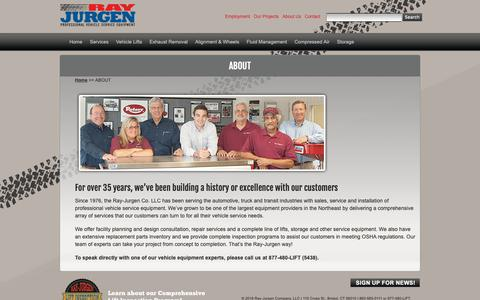 Screenshot of About Page rayjurgen.com - Ray-Jurgen Company –Leaders in Professional Vehicle Service Equipment - captured Oct. 20, 2018