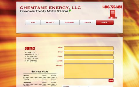 Screenshot of Contact Page chemtane2.com - Chemtane Energy, LLC | Contact - captured Nov. 9, 2018