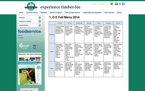 Screenshot of Menu Page timber-lee.com - Timber-lee Ministries - Wisconsin Christian Camp - captured Nov. 4, 2014