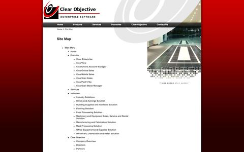 Screenshot of Site Map Page clearobjective.com.au - Site Map - Clear Enterprise ERP Software by Clear Objective Limited - captured Dec. 9, 2015