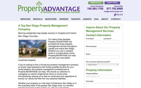 Screenshot of Services Page propertyadvantage.com - San Diego Property Management - captured May 23, 2017