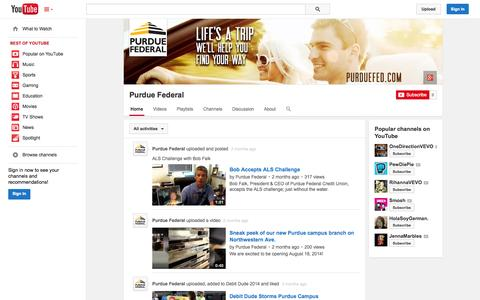 Screenshot of YouTube Page youtube.com - Purdue Federal  - YouTube - captured Oct. 22, 2014
