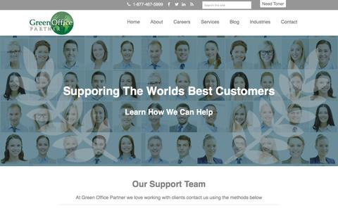 Screenshot of Support Page greenofficepartner.com - Support - captured July 9, 2016
