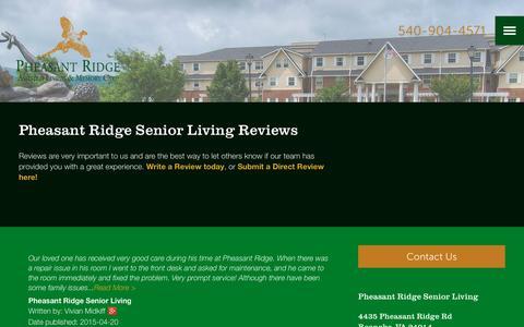Screenshot of Testimonials Page milestoneretirement.com - Senior Living Resources | Pheasant Ridge Senior Living - captured Jan. 25, 2017
