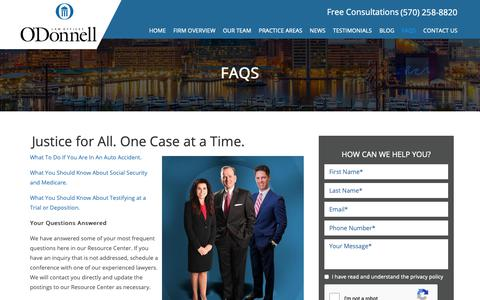 Screenshot of FAQ Page odonnell-law.com - Personal Injury FAQs - Ask A Personal Injury Lawyer in Northeastern PA - captured Nov. 15, 2018