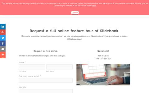 Screenshot of Signup Page slidebank.com - Demo — PowerPoint Presentation Management Software - Slidebank - captured July 8, 2018