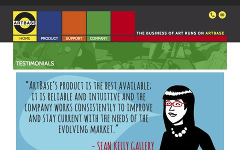 Screenshot of Testimonials Page artbase.com - ArtBase - Testimonials - Art database software for galleries, museums, collectors - captured Dec. 26, 2015