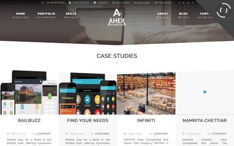 Screenshot of Case Studies Page ahex.co.in - Case Studies – Ahex - captured Oct. 7, 2017