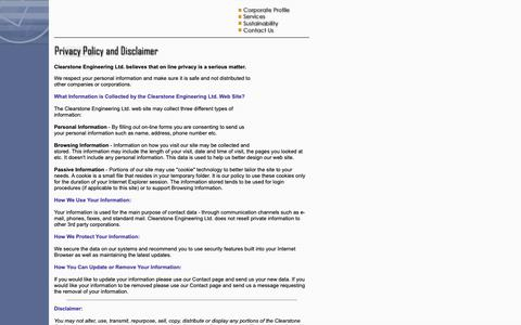 Screenshot of Privacy Page clearstone.ca - Clearstone Engineering Ltd. - Privacy Policy and Disclaimer - captured Sept. 28, 2018